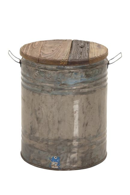 Image of Willow Row Metal Wood Drum Stool