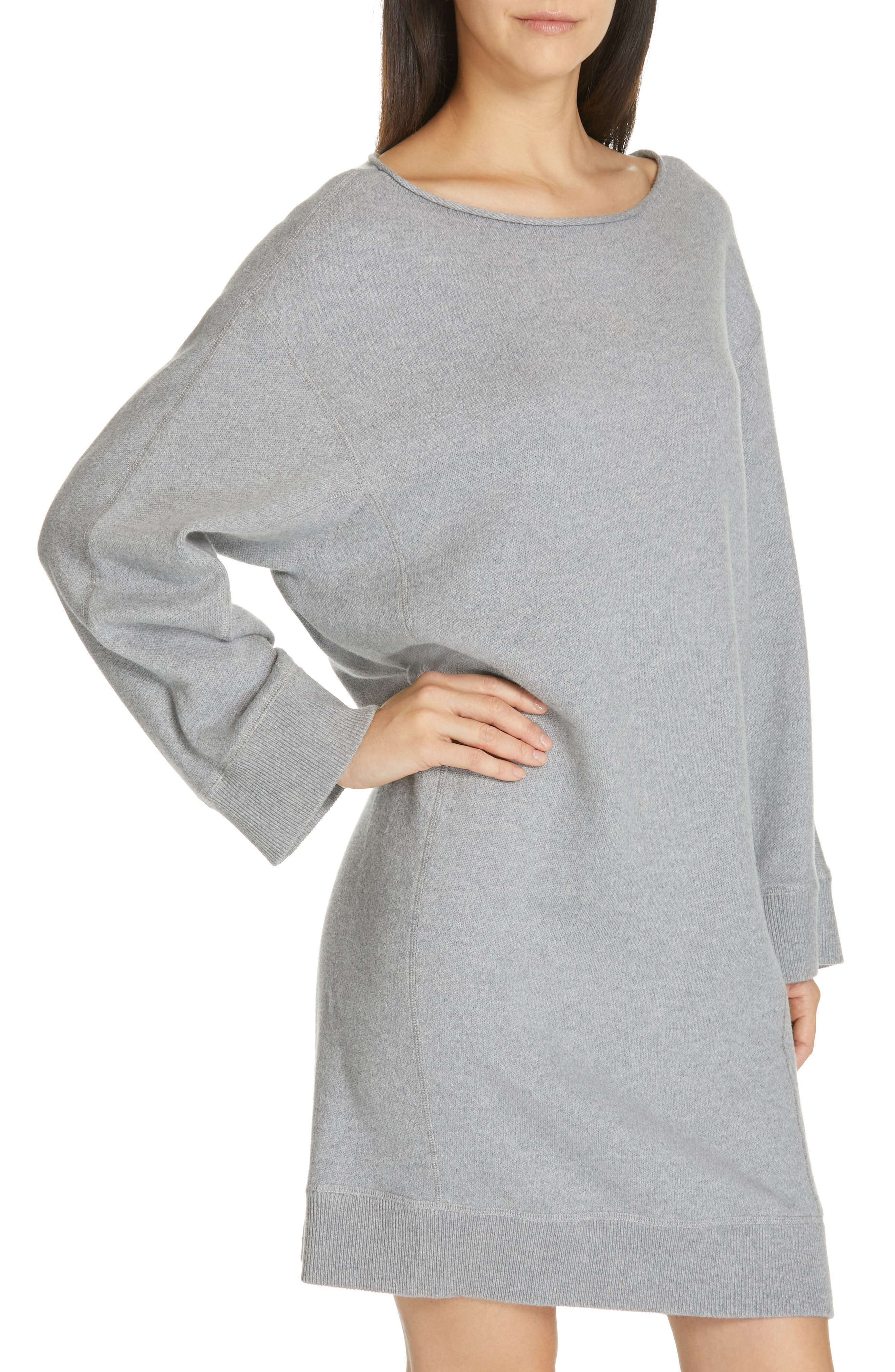 ,                             Cotton Terry Shift Dress,                             Alternate thumbnail 5, color,                             H STEEL