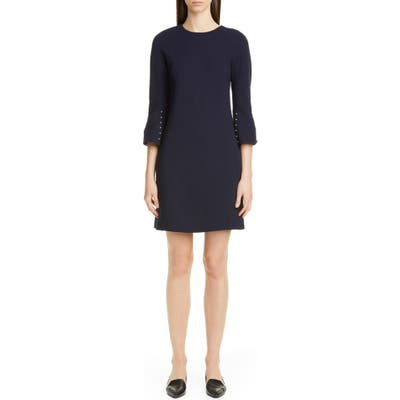 Lela Rose Bead Sleeve Stretch Wool Minidress, Blue