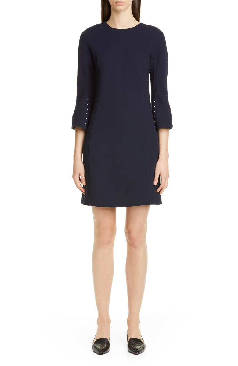 LELA ROSE Bead Sleeve Stretch Wool Minidress, Main, color, NAVY