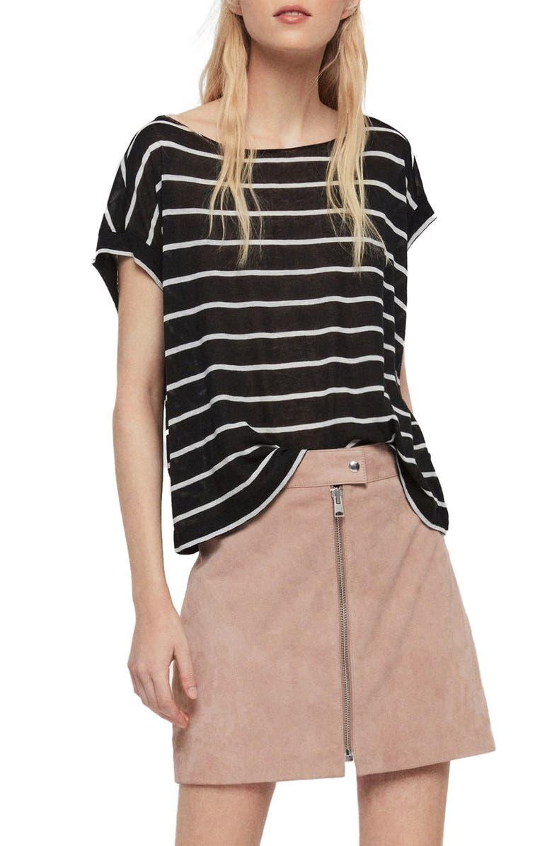 ALLSAINTS Pina Stripe Tee, Main, color, BLACK/ CHALK WHITE