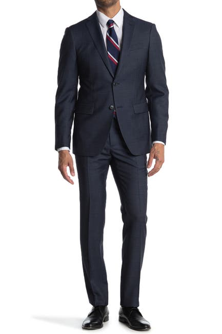 Image of John Varvatos Collection Nested Blue Solid Two Button Notch Lapel Wool Blend Suit