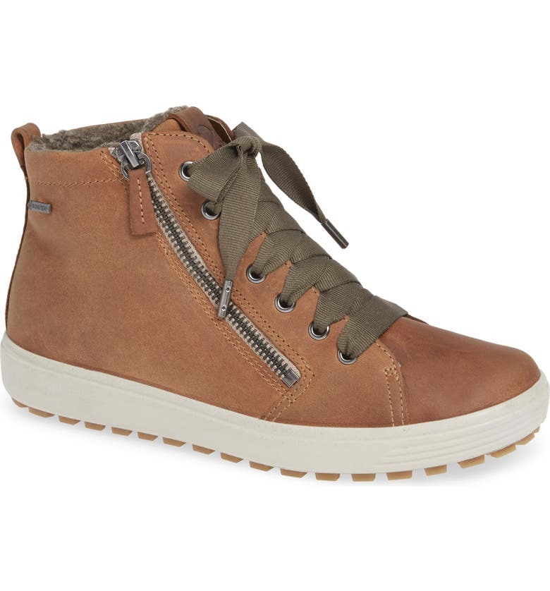 ECCO Soft 7 Tred Gore-Tex<sup>®</sup> Waterproof Bootie, Main, color, CASHMERE OIL NUBUCK LEATHER