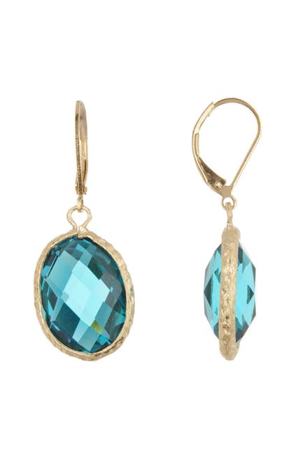 Image of Rivka Friedman 18K Gold Clad Faceted London Blue Crystal Satin Oval Hammered Earrings