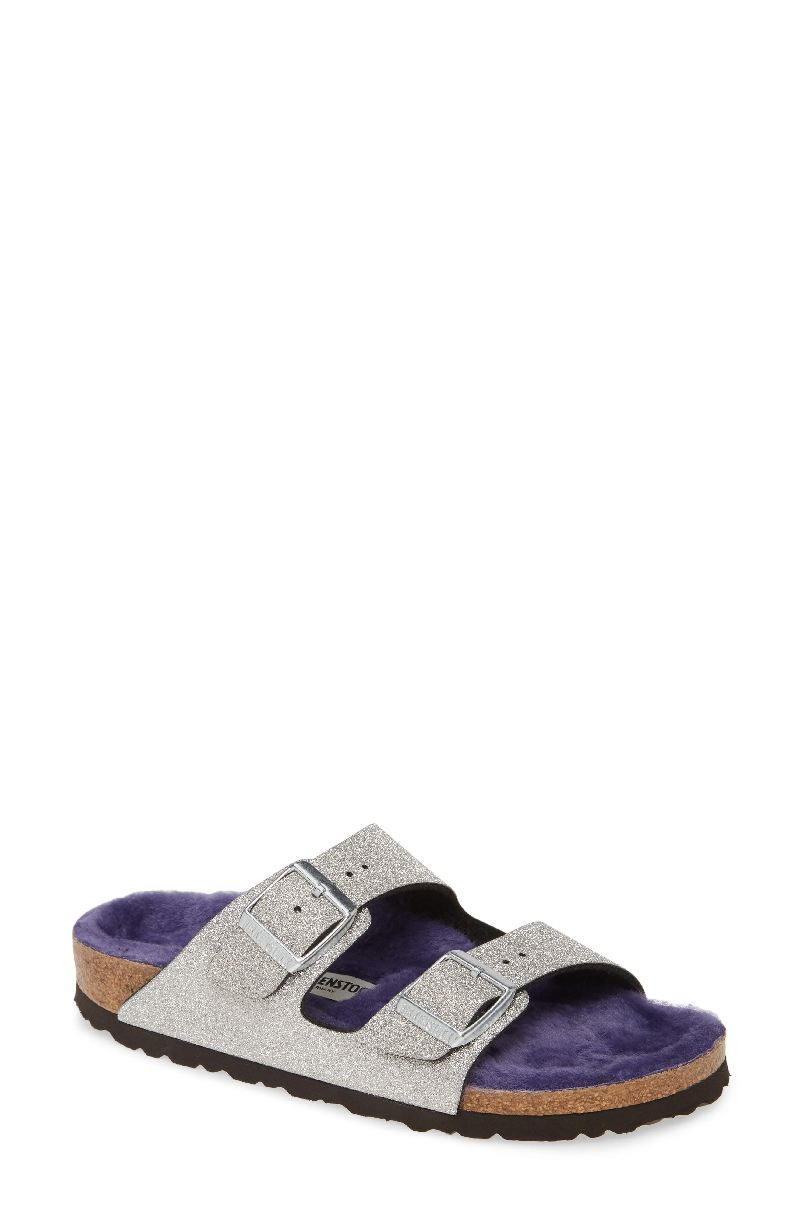 Birkenstock Arizona Glitter Dust Genuine Shearling Slide (Women)
