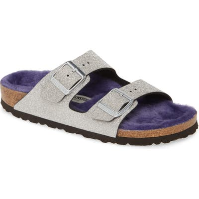 Birkenstock Arizona Glitter Dust Genuine Shearling Slide, Metallic