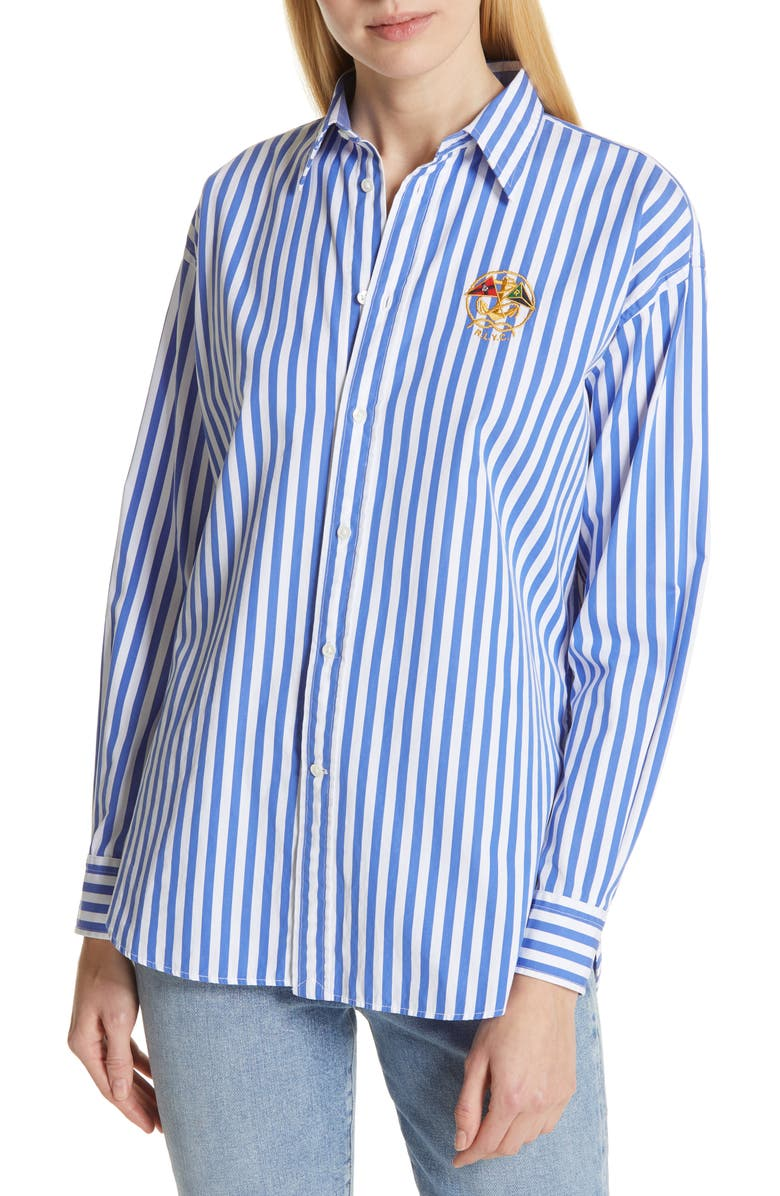 POLO RALPH LAUREN Ellen Crest Logo Stripe Blouse, Main, color, 400