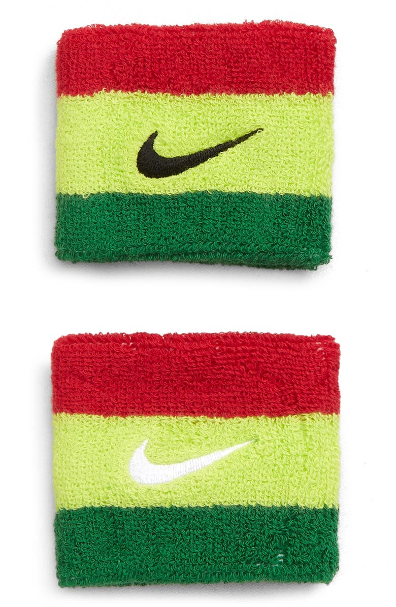 NIKE x Olivia Kim Stripe Terry Wristband, Main, color, GYM RED/ VOLT/ PINE GREEN