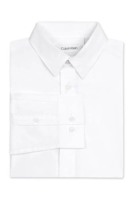 Image of Calvin Klein Solid Stretch Poplin Shirt