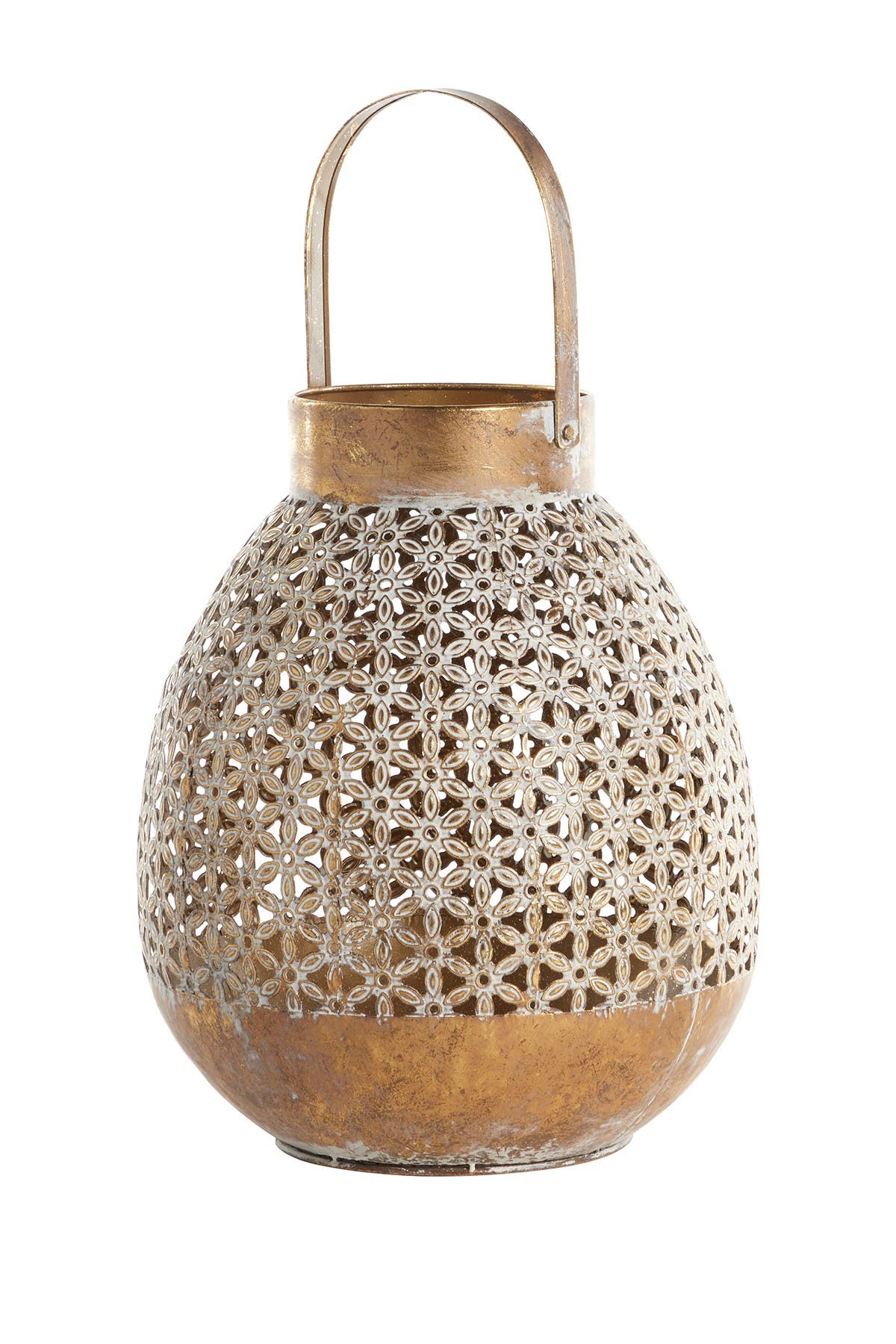 """Image of Willow Row Round Distressed White And Antique Gold Metal Lantern With Floral Pattern Detail - 13"""" x 16"""""""
