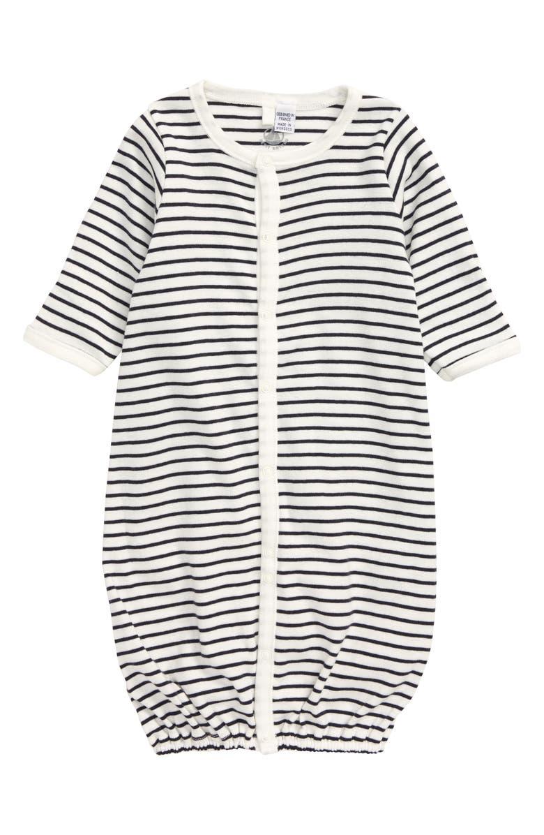 PETIT BATEAU Stripe Convertible Gown, Main, color, NAVY/ WHITE