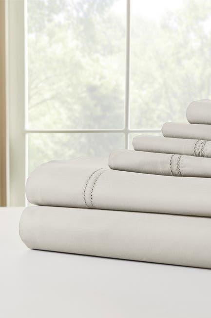 Image of Modern Threads 1000 Thread Count Tri-Blend 6-Piece Sheet Set With Double Hole Hem - Birch - Full