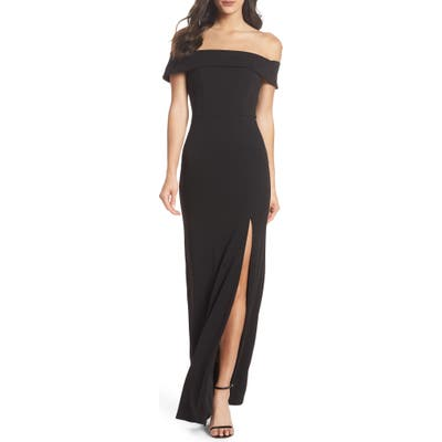 Lulus Off The Shoulder Mermaid Gown, Black