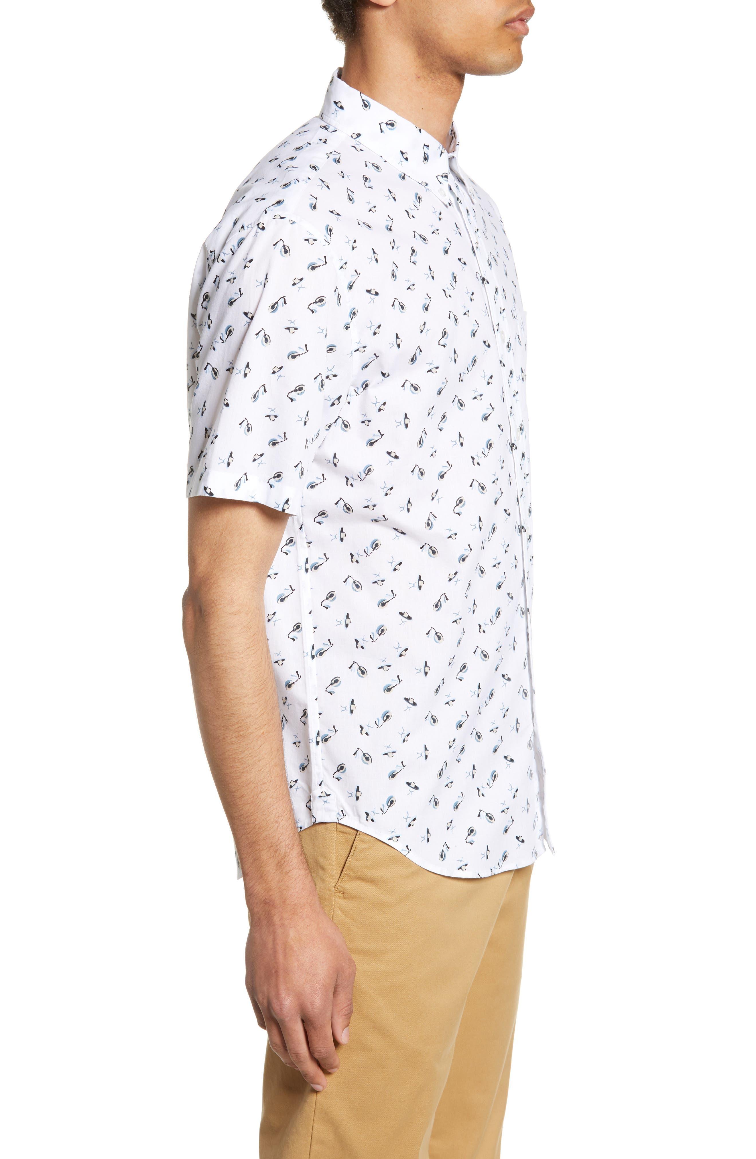 ,                             Slim Fit Sombrero Print Sport Shirt,                             Alternate thumbnail 4, color,                             WHITE MULTI
