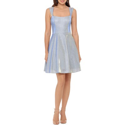 Xscape Glitter Double Strap Party Dress, Blue