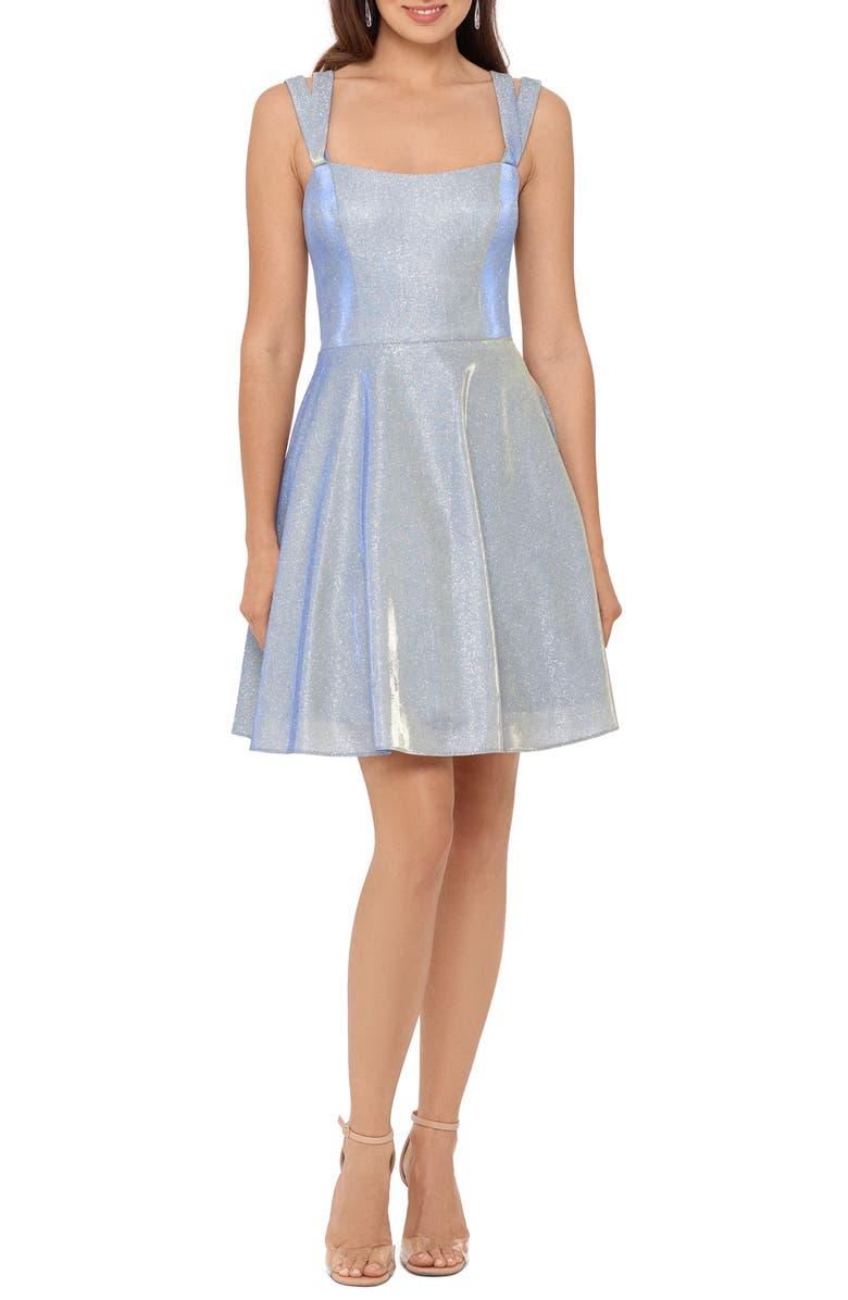 XSCAPE Glitter Double Strap Party Dress, Main, color, WHITE/ ROYAL