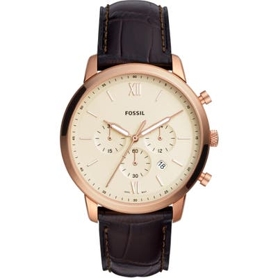 Fossil Neutra Chronograph Leather Strap Watch, 4m