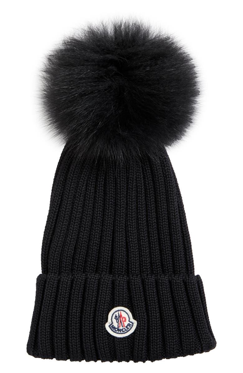 MONCLER Rib Wool Hat with Genuine Fox Fur Pom, Main, color, BLACK