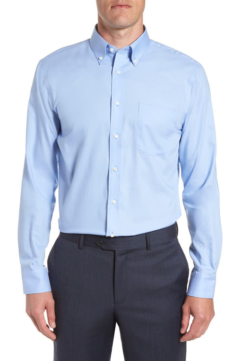 NORDSTROM MEN'S SHOP Trim Fit Non-Iron Dress Shirt, Main, color, BLUE HYDRANGEA