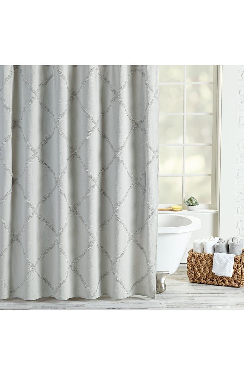PERI HOME Chenille Lattice Shower Curtain, Main, color, 020