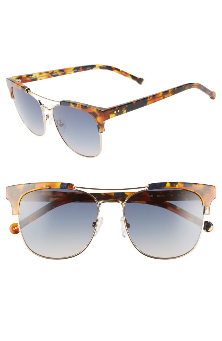 COLORS IN OPTICS Noho 56mm Gradient Sunglasses, Main, color, TORTOISE/ BLUE