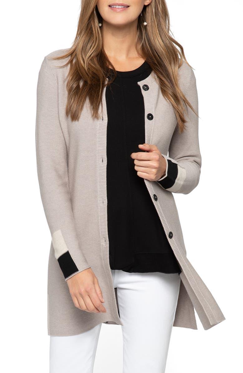 NIC+ZOE Colorblock Sleeve Long Cotton Blend Cardigan, Main, color, 270