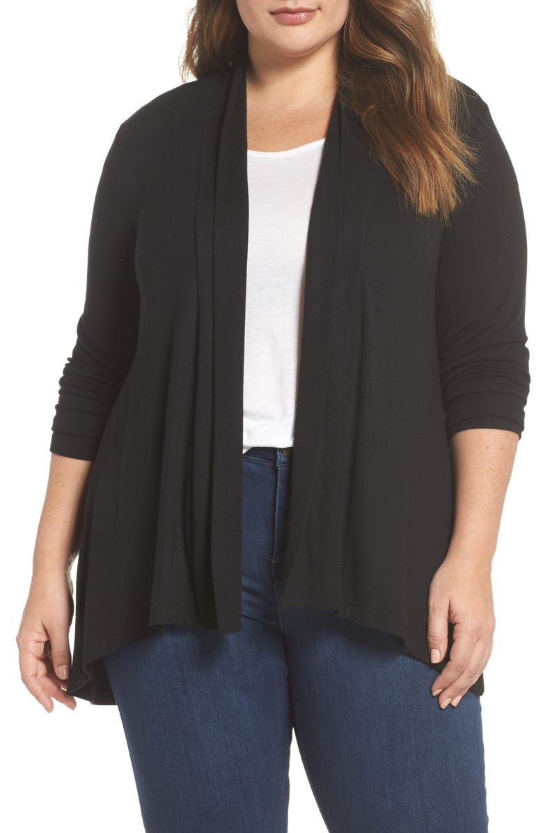 BOBEAU High/Low Cardigan, Main, color, BLACK