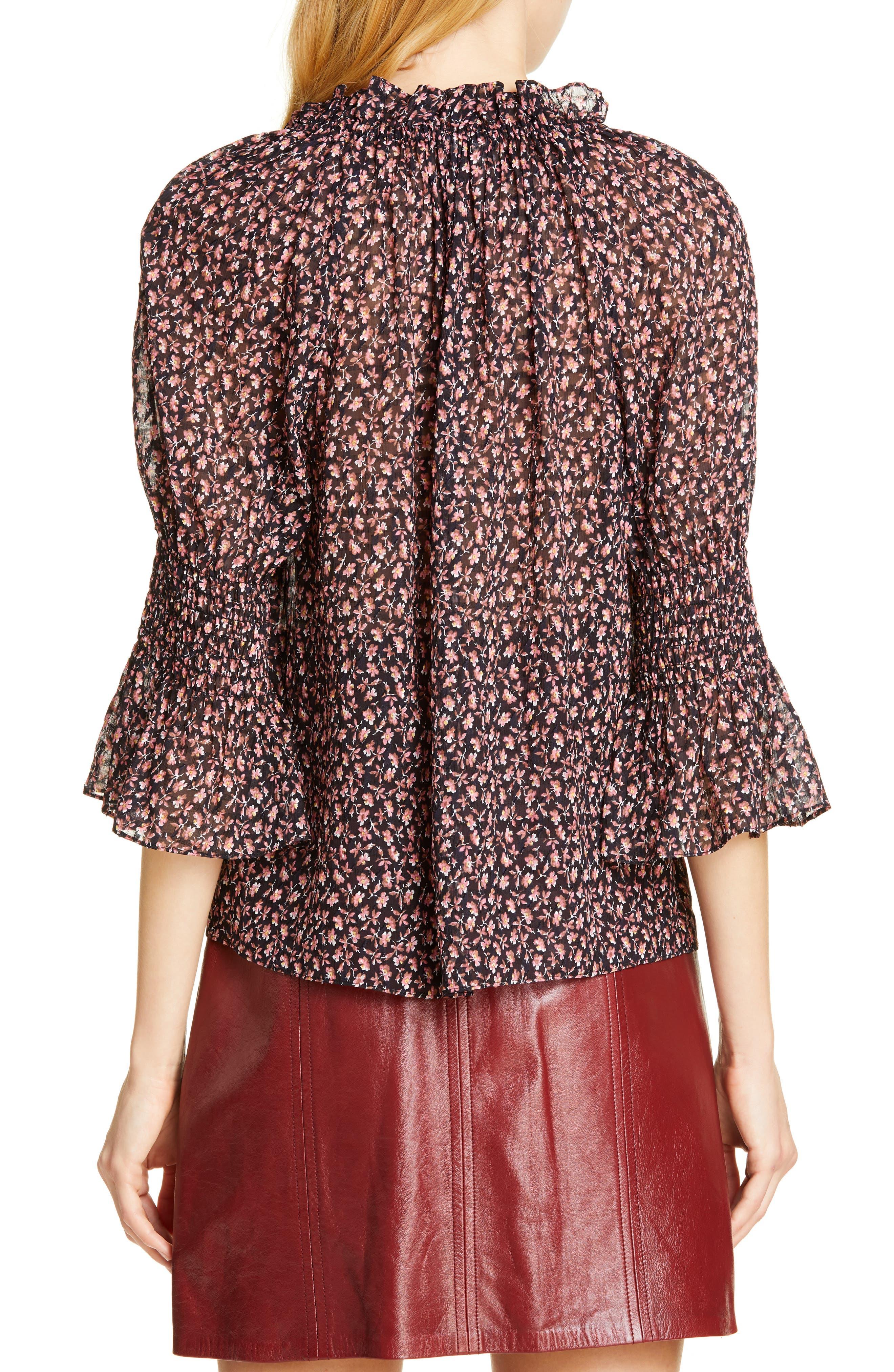 ,                             Floral Ruffle Detail Silk & Cotton Blouse,                             Alternate thumbnail 2, color,                             NAVY COMBO