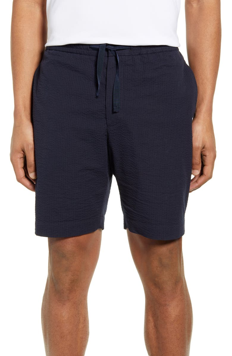 OFFICINE GÉNÉRALE Phil Seersucker Shorts, Main, color, NAVY