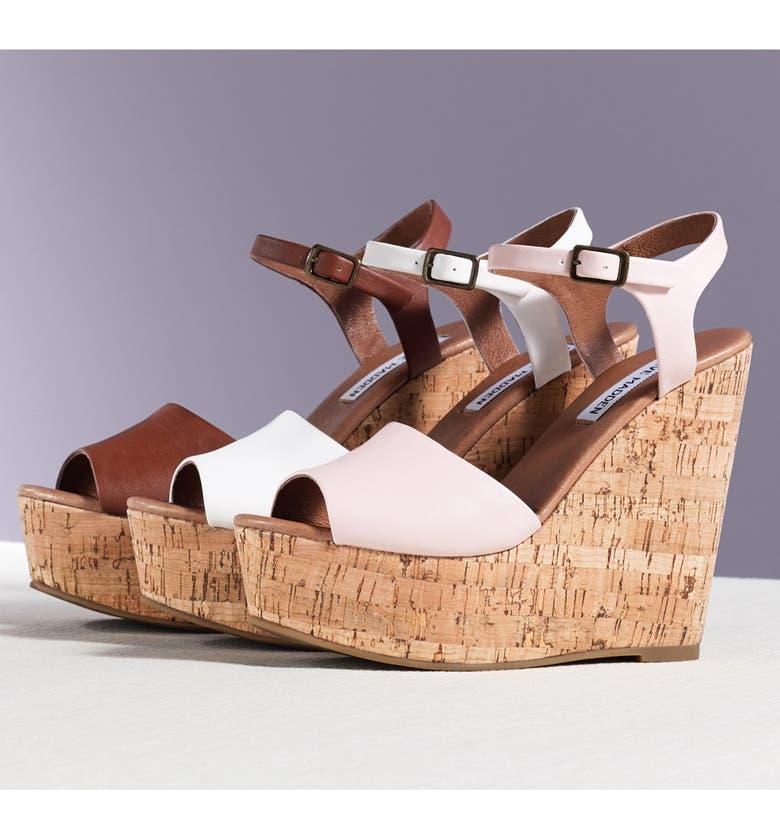 STEVE MADDEN 'Korkey' Ankle Strap Wedge Platform Sandal, Main, color, 005