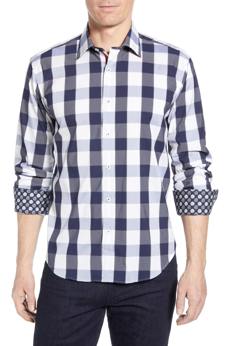 BUGATCHI Shaped Fit Check Cotton Shirt, Main, color, MIDNIGHT