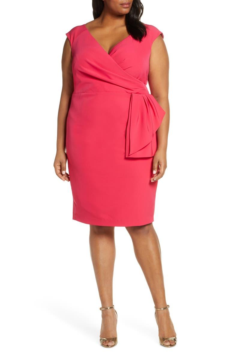 ELIZA J Cap Sleeve Drape Crepe Sheath Dress, Main, color, PINK