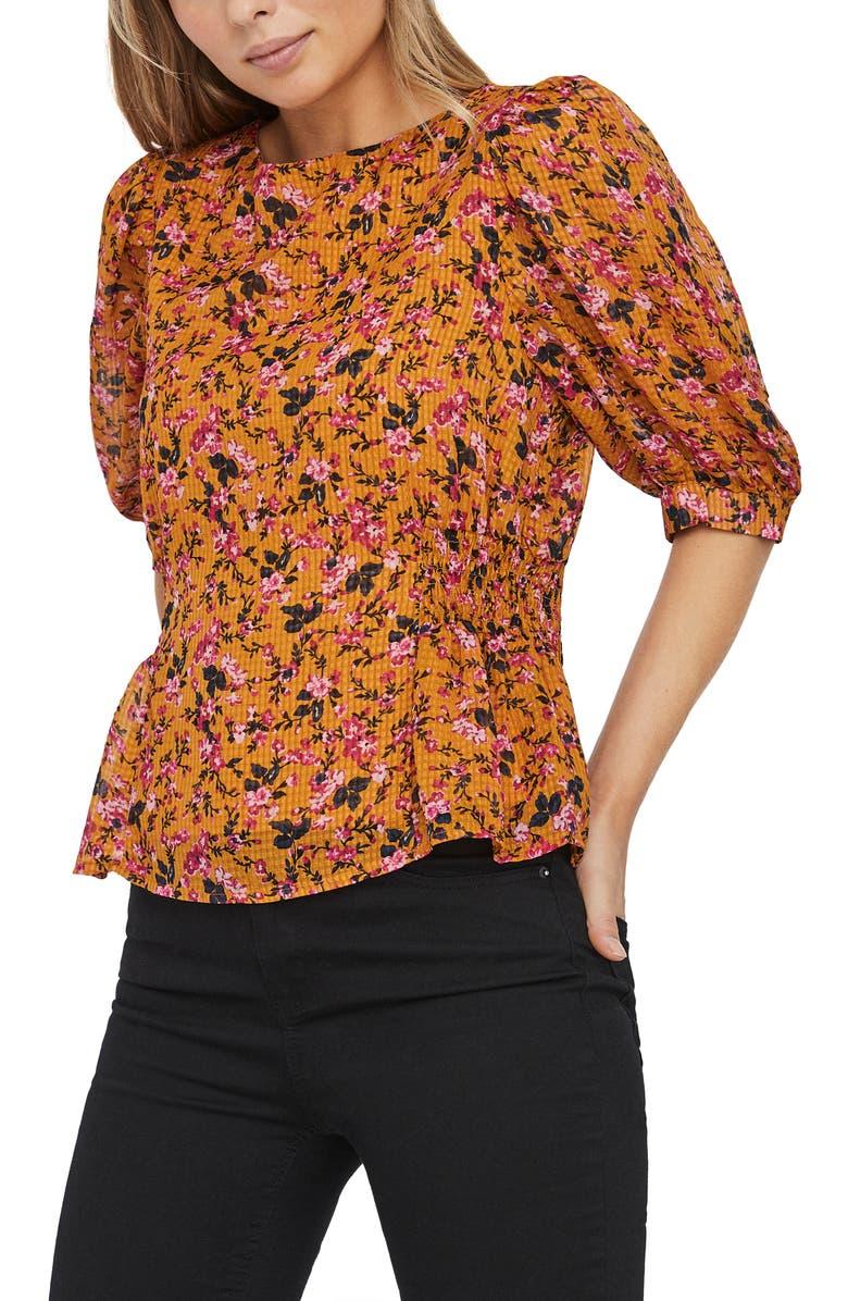 VERO MODA Vilde Floral Top, Main, color, BUCKTHORN BROWN