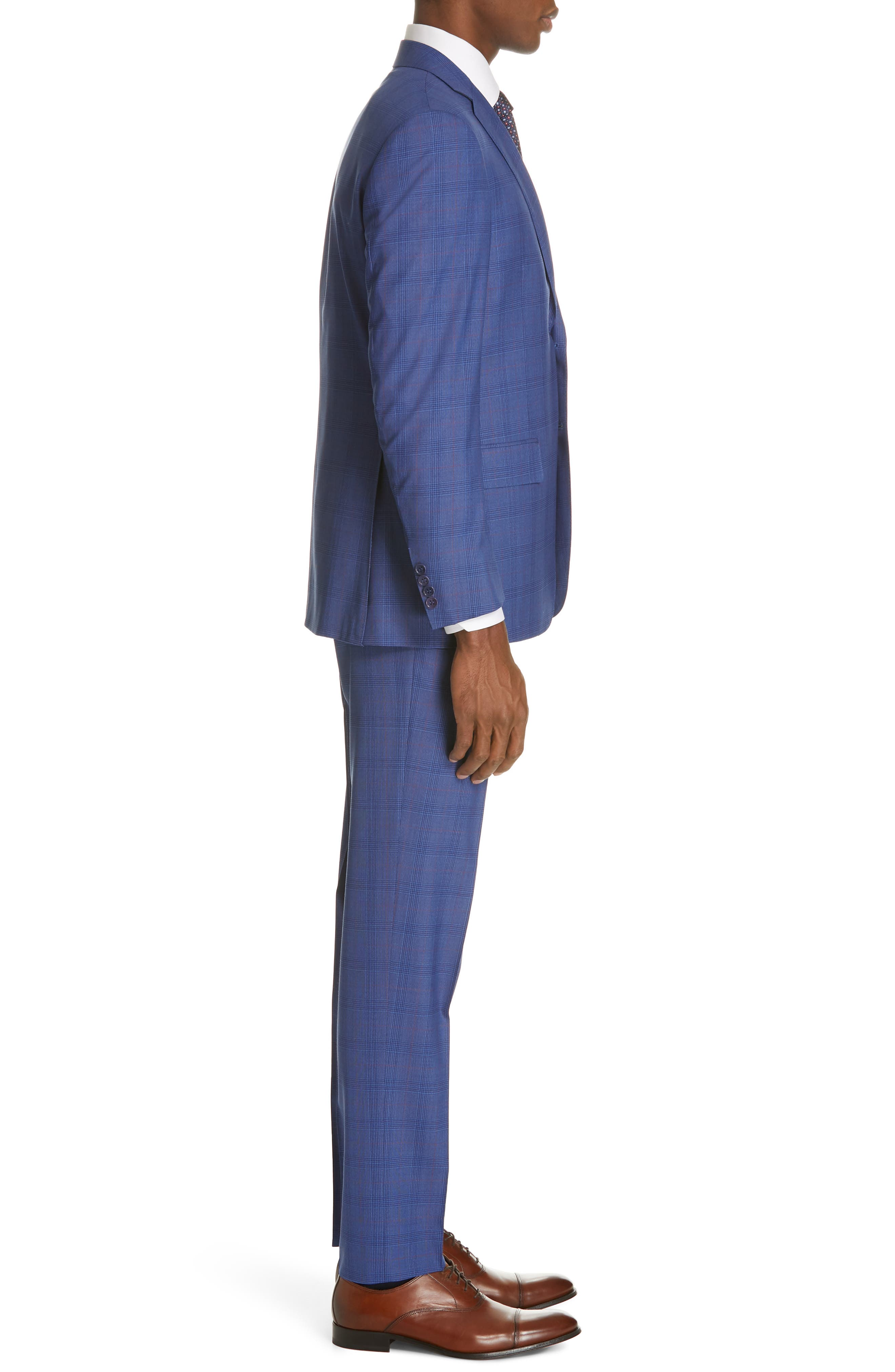 ,                             Siena Classic Fit Deco Plaid Super 130s Wool Suit,                             Alternate thumbnail 3, color,                             BLUE