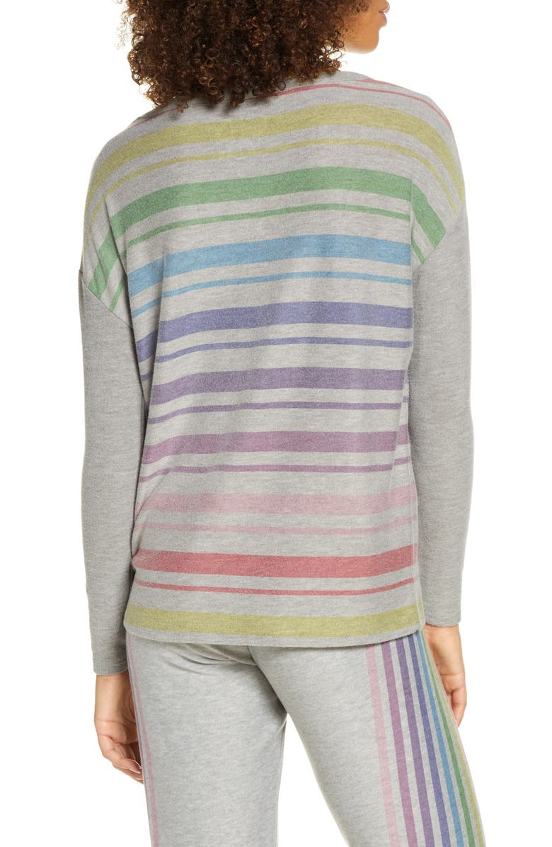 CHASER Rainbow Stripe Cozy Pullover, Main, color, H GREY