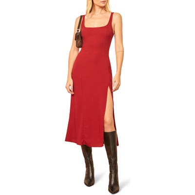 Reformation Gilmore Sleeveless Midi Dress, Red