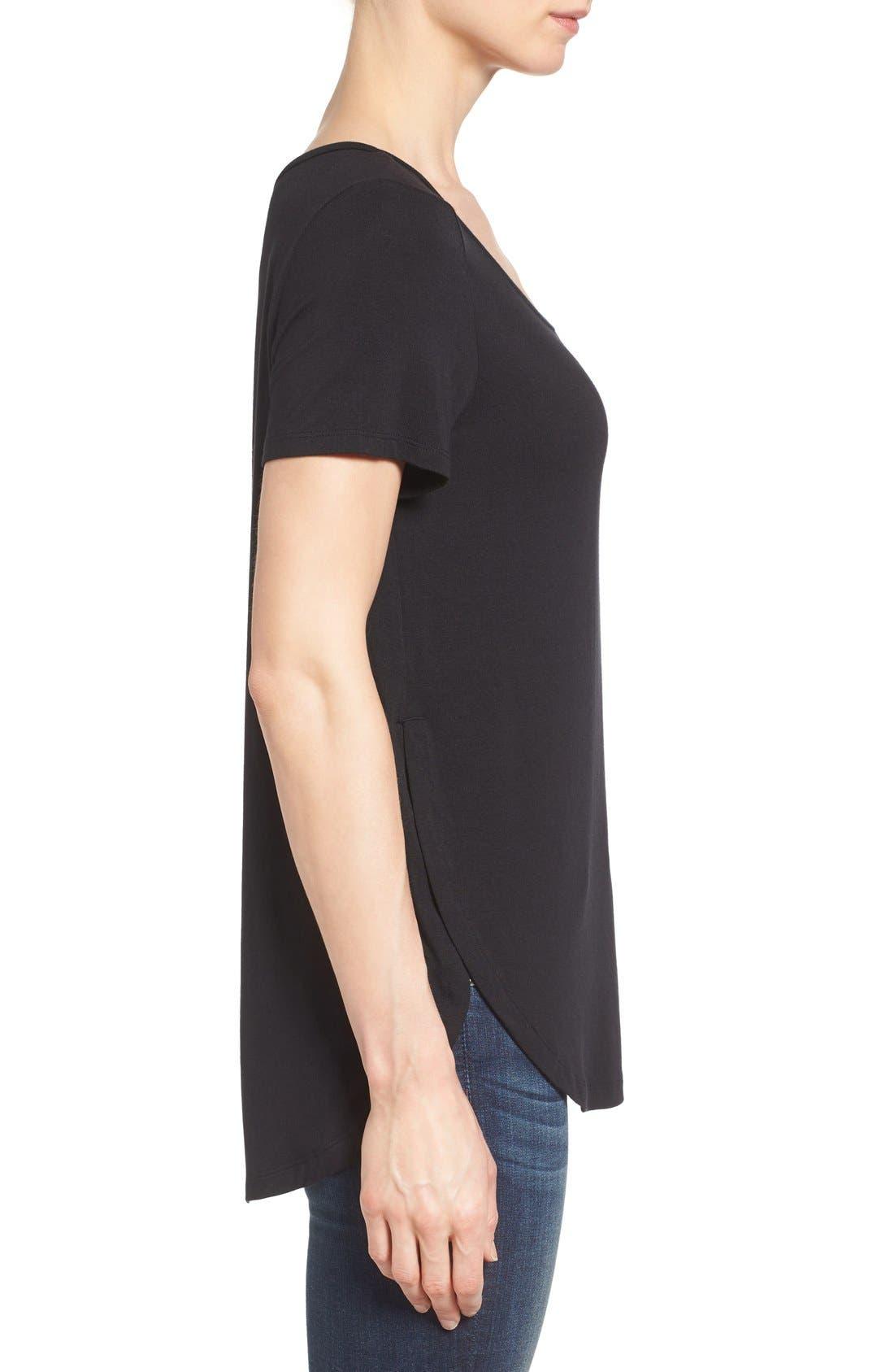 ,                             Short Sleeve Shirttail Tee,                             Alternate thumbnail 9, color,                             BLACK