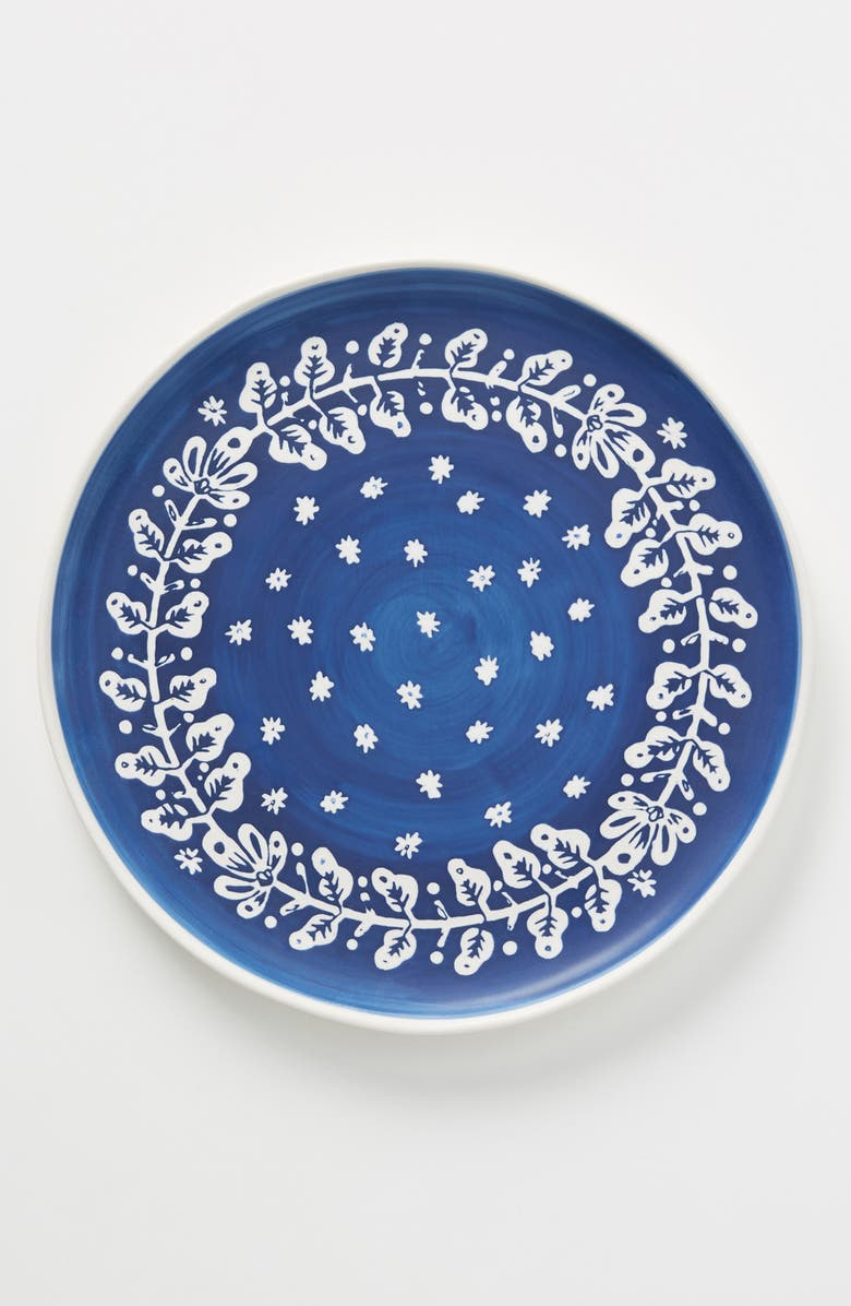 ANTHROPOLOGIE Pallu Set of 4 Dinner Plates, Main, color, BLUE COMBO