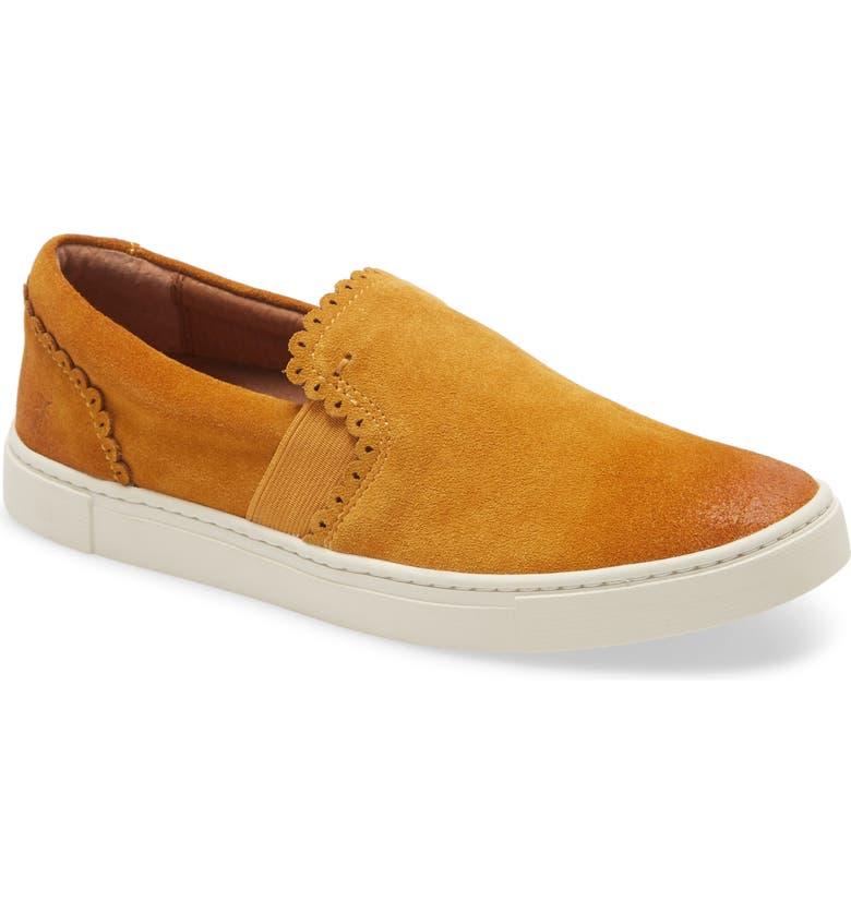 FRYE Ivy Scalloped Slip-On Sneaker, Main, color, MARIGOLD SUEDE
