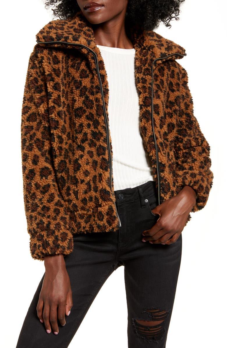 BB DAKOTA Leopard Print Faux Shearling Jacket, Main, color, 210