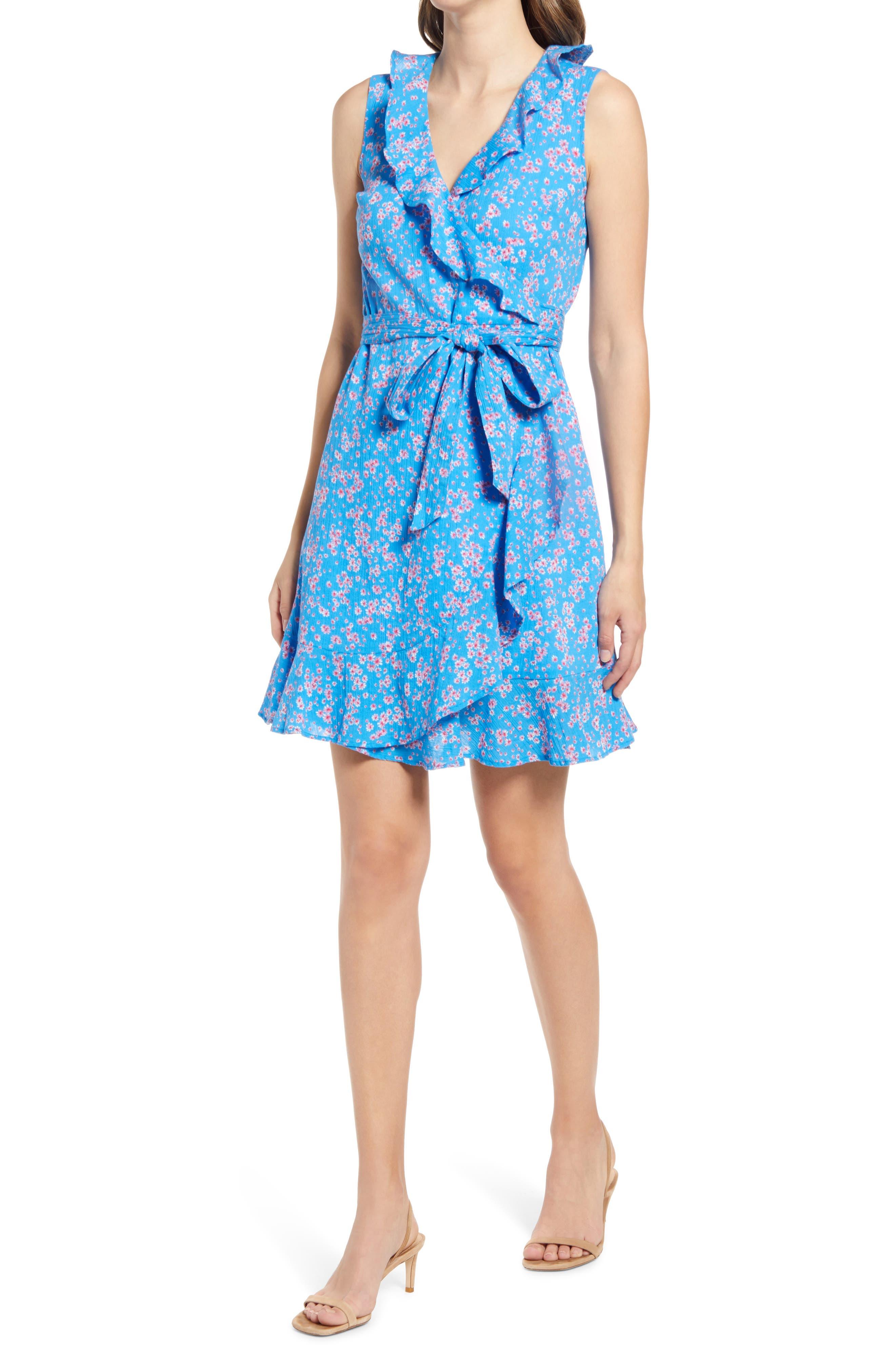 Reba Floral Flutter Cotton Wrap Dress