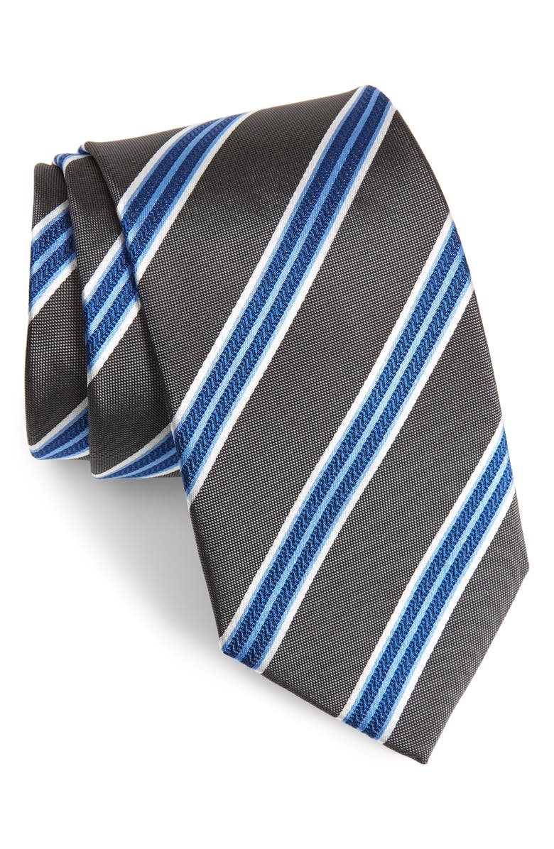 DAVID DONAHUE Stripe Silk Tie, Main, color, 010