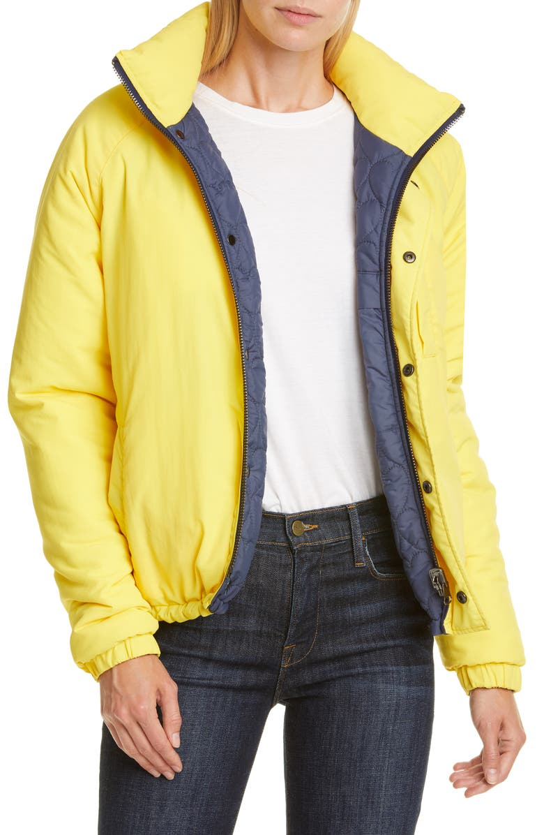 OPENING CEREMONY Water Resistant Reversible Quilted Puffer Coat, Main, color, FLUORESCENT YELLOW