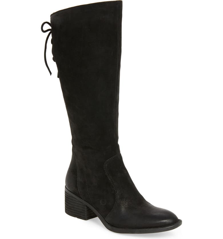 BØRN Felicia Knee High Boot, Main, color, BLACK DISTRESSED LEATHER