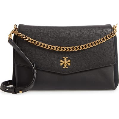 Tory Burch Kira Mixed Leather Shoulder Bag - Black