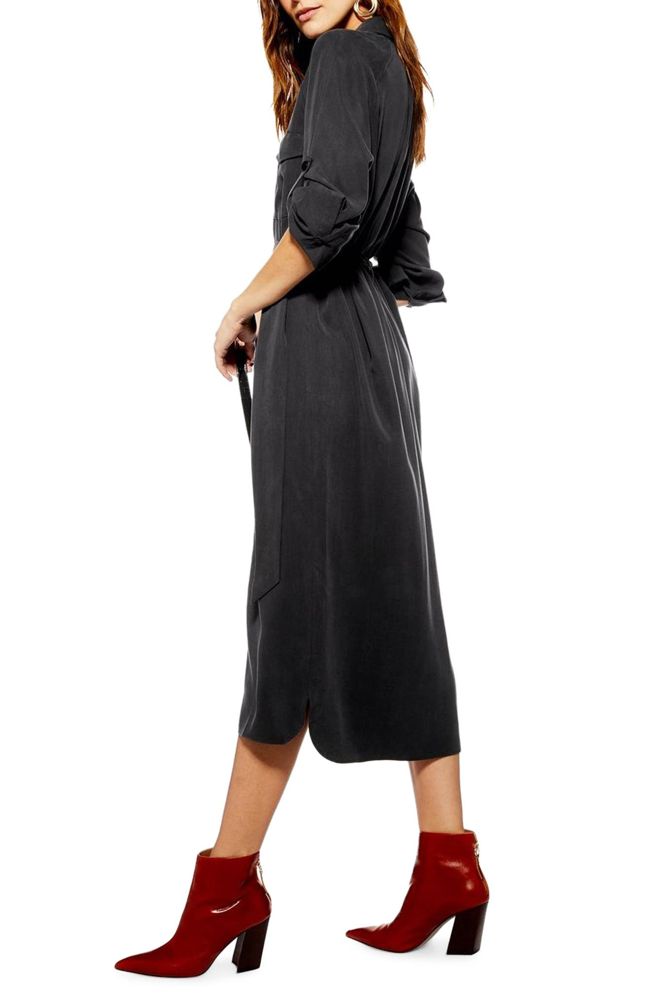 ,                             Utility Midi Shirtdress,                             Alternate thumbnail 4, color,                             WASHED BLACK