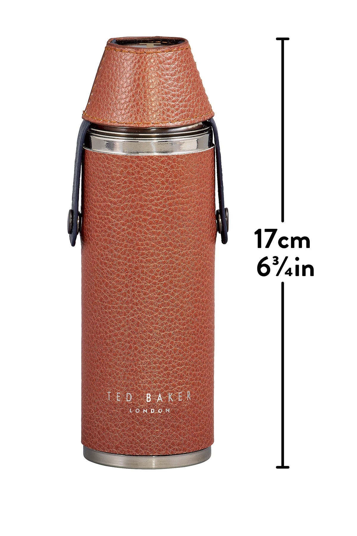 Image of Ted Baker London Brown Ted's World Hip Flask and Shot Cups