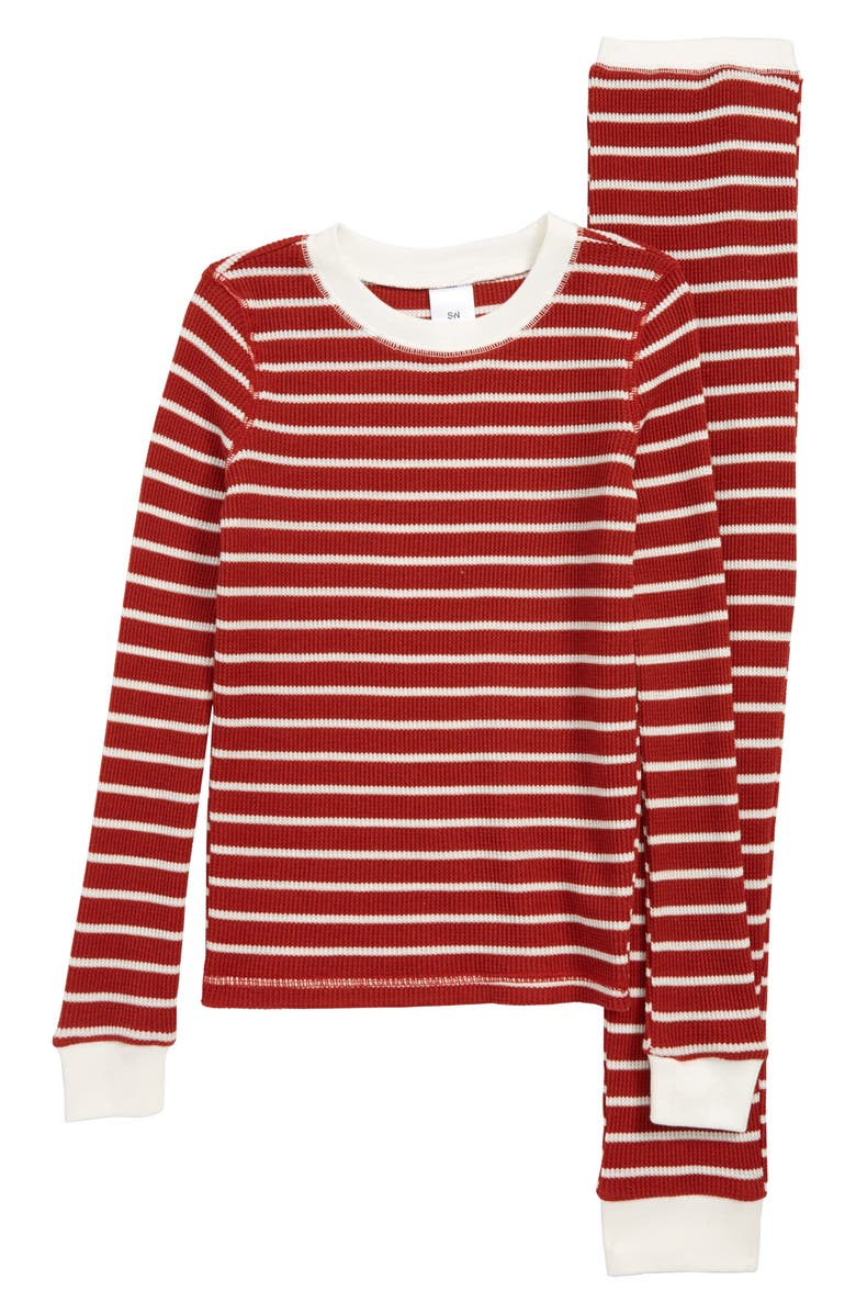 SOMETHING NAVY Thermal Fitted Two-Piece Pajamas, Main, color, RED AND WHITE STRIPE