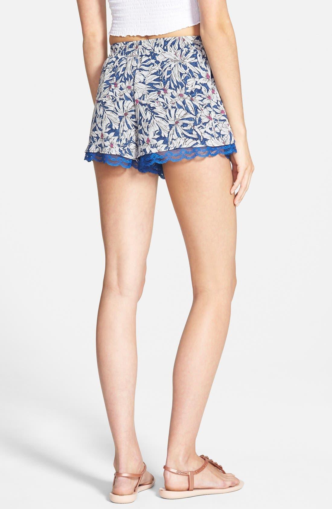 ,                             Lace Trim Floral Print Shorts,                             Alternate thumbnail 20, color,                             402