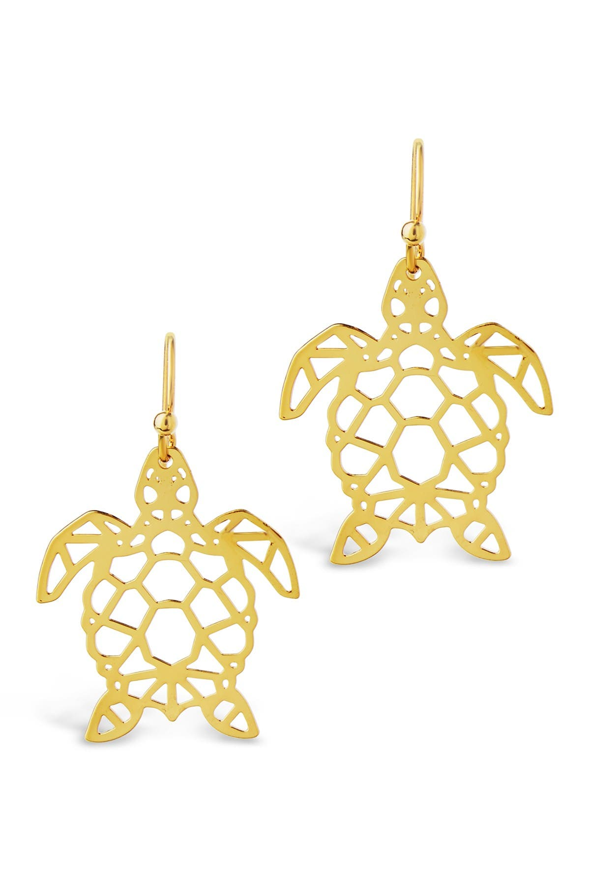 Image of Sterling Forever 14K Gold Vermeil Plated Sterling Silver Cutout Turtle Dangle Earrings